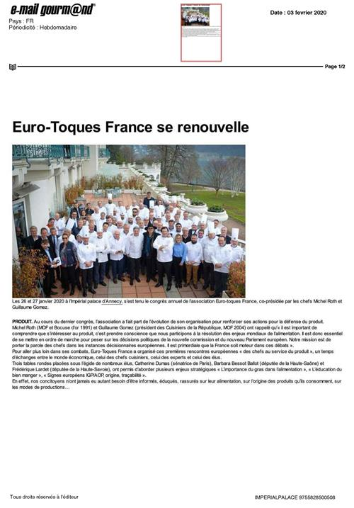 EMAIL GOURMAND : Euro-Toques France se renouvelle